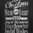 Vintage Merry Christmas And Happy New Year Calligraphic And Typographic Background With Chalk Word Art On Blackboard — Stock Photo