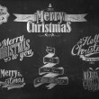 Vintage Merry Christmas And Happy New Year Calligraphic And Typographic Background With Chalk Word Art On Blackboard — Stock Photo #19613643