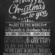 Vintage Merry Christmas And Happy New Year Calligraphic And Typographic Background With Chalk Word Art On Blackboard — 图库照片