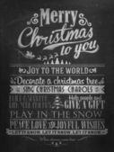 Vintage Merry Christmas And Happy New Year Calligraphic And Typographic Background With Chalk Word Art On Blackboard — ストック写真