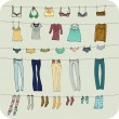 Collection Of Fashionable Dresses For Girl — Stock Photo