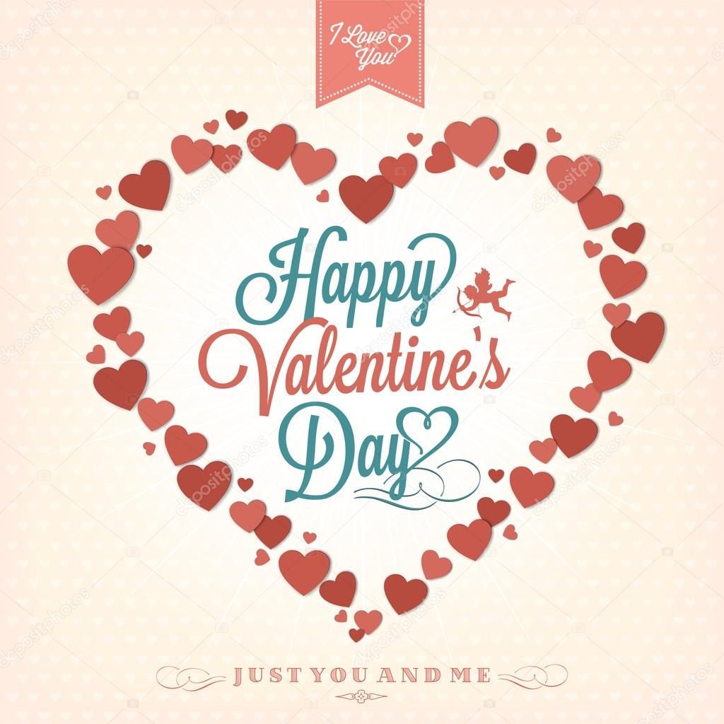 Happy Valentine's Day Hand Lettering - Typographical Background  Stock Photo #19624385