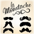 Stock Photo: Pixel Mustache set