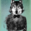 Hipster Wolf Background - Stock Photo