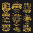 Set Of Vintage Retro Coffee Labels - Stock Photo