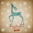 Hand Drawn Vintage Deer Christmas Card - Stock Photo