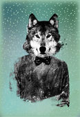 Hipster Wolf Background — Stock Photo