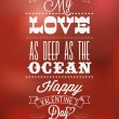 Happy Valentine&#039;s Day Hand Lettering - Typographical Background - Stock Photo