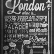 London Typographical Background On Blackboard With Chalk — Stock Photo #22167127