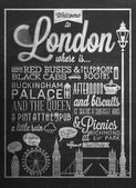 London Typographical Background On Blackboard With Chalk — Stock Photo