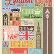 Retro style poster with London symbols and landmarks - Stock Photo