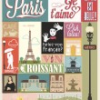 Typographical Retro Style Poster With Paris Symbols And Landmarks - Stock Photo