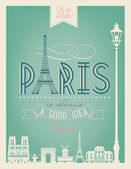 Typographical Retro Style Poster With Paris Symbols And Landmarks — Stock Photo