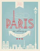 Typographical Retro Style Poster With Paris Symbols And Landmarks — Foto Stock