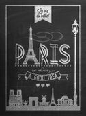 Typographical Retro Style Poster With Paris Symbols And Landmarks On Blackboard With Chalk — Stock Photo