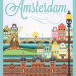 Retro style poster with Amsterdam symbols and landmarks — Stock Photo
