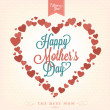 VIntage Happy Mothers's Day Typographical Background With Hearts — Stock Photo