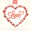 VIntage Happy Mothers's Day Typographical Background With Hearts — 图库照片