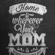Vintage Happy Mother's Day Typographical Background With Chalk On Blackboard — Stock Photo #25255879