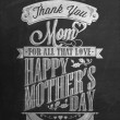 Vintage Happy Mother's Day Typographical Background With Chalk On Blackboard — Stock Photo
