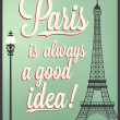 Typographical Retro Style Poster With Paris Symbols And Landmarks — Stock Photo #27885469