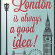 Typographical Retro Style Poster With London Symbols And Landmarks — Stock Photo