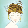 Hand Drawn Girl's Nest Hair Illustration — Stock Photo