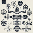 Set Of Vintage Retro Nautical Badger And Labels — Stock Photo #34983049