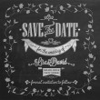 Save The Date Wedding invitation Card On Blackboard With Chalk — Stok fotoğraf