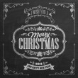Vintage Christmas And New Year Background With Typography On Blackboard With Chalk — Стоковая фотография