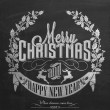 Vintage Christmas And New Year Background With Typography On Blackboard With Chalk — Zdjęcie stockowe