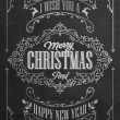 Vintage Christmas And New Year Background With Typography On Blackboard With Chalk — Photo