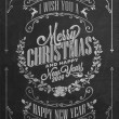 Vintage Christmas And New Year Background With Typography On Blackboard With Chalk — Stock Photo