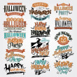 Foto Stock: Halloween Calligraphic Designs VIntage Vector Set