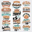 Stok fotoğraf: Halloween Calligraphic Designs VIntage Vector Set