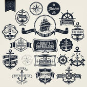 Set Of Vintage Retro Nautical Badger And Labels — Stock fotografie
