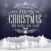 Funny Vintage Paper Christmas Elements Background With Typography — Foto Stock