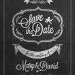 Save The Date Wedding invitation Card On Blackboard With Chalk — Stock Photo #40502545