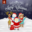 Stock Photo: Funny Greeting Card, Christmas Card With Santa Claus, Deer, Snowman And Bear