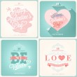 Happy Valentine's Day Hand Lettering - Typographical Background with ornaments, hearts, ribbon, angel and arrows — Stock Photo #40504891