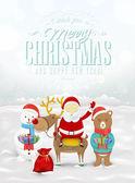 搞笑贺卡、 圣诞贺卡与圣诞老人、 雪人、 鹿、 熊 — 图库照片