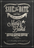 Save The Date Wedding invitation Card On Blackboard With Chalk — Stockfoto