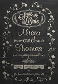Save The Date Wedding invitation Card On Blackboard With Chalk — Stock Photo