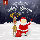 Funny Greeting Card, Christmas Card With Santa Claus, Deer, Snowman And Bear — Zdjęcie stockowe