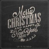 Boże narodzenie i nowy rok tło z typografii na tablicy kredą — Zdjęcie stockowe