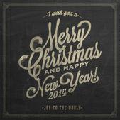 Vintage weihnachten und neujahr hintergrund mit typografie auf tafel mit kreide — Stockfoto