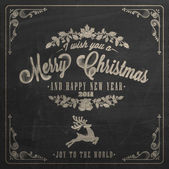Vintage Christmas And New Year Background With Typography On Blackboard With Chalk — Foto de Stock