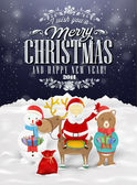 Funny Greeting Card, Christmas Card With Santa Claus, Deer, Snowman And Bear — Stock Photo