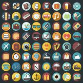 Set of 64 Flat Quality Travel Map Icons — Stock Photo