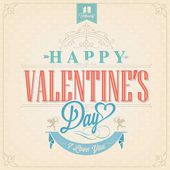 Happy Valentine's Day Hand Lettering - Typographical Background with ornaments, hearts, ribbon, angel and arrows — Stock Photo